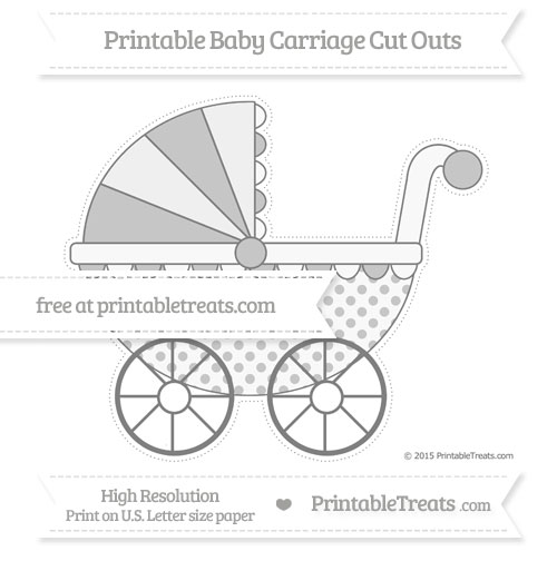 Free Grey Polka Dot Extra Large Baby Carriage Cut Outs