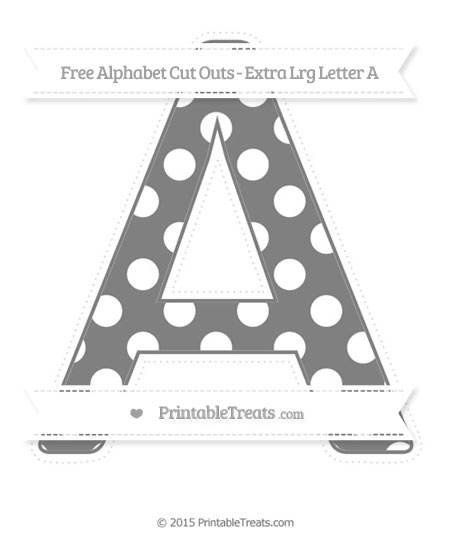 Free Grey Polka Dot Extra Large Capital Letter A Cut Outs