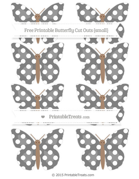 Free Grey Polka Dot Small Butterfly Cut Outs