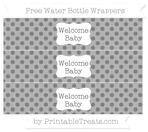 Free Grey Polka Dot Welcome Baby Water Bottle Wrappers