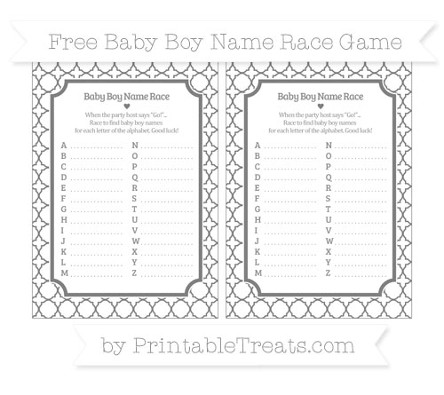 Free Grey Quatrefoil Pattern Baby Boy Name Race Game