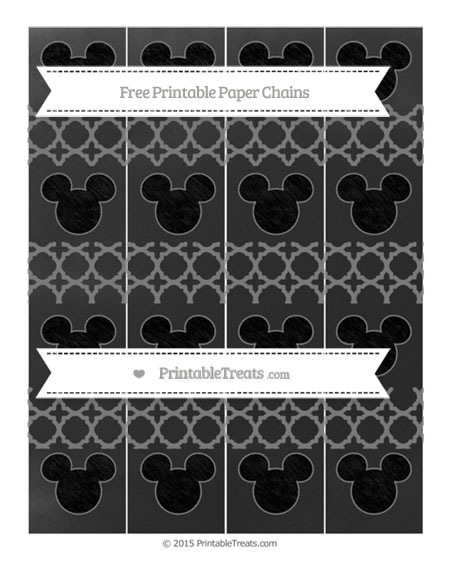 Free Grey Quatrefoil Pattern Chalk Style Mickey Mouse Paper Chains
