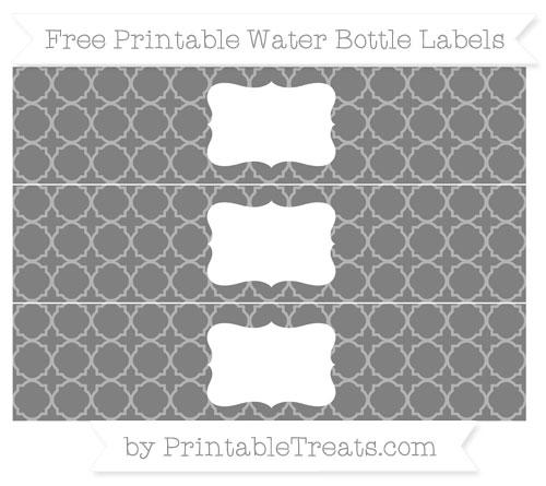 Free Grey Quatrefoil Pattern Water Bottle Labels