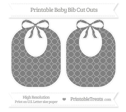Free Grey Quatrefoil Pattern Large Baby Bib Cut Outs