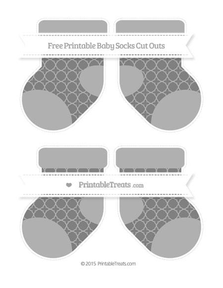 Free Grey Quatrefoil Pattern Medium Baby Socks Cut Outs