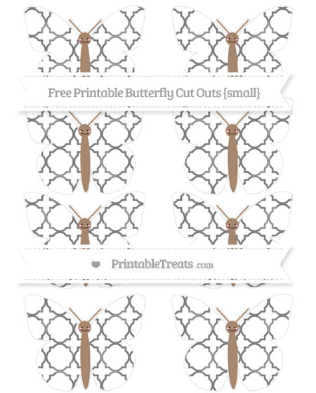 Free Grey Quatrefoil Pattern Small Smiley Butterfly Cut Outs