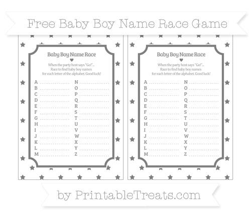 Free Grey Star Pattern Baby Boy Name Race Game