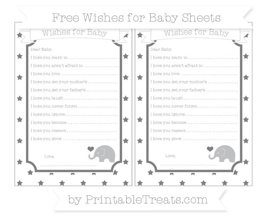 Free Grey Star Pattern Baby Elephant Wishes for Baby Sheets