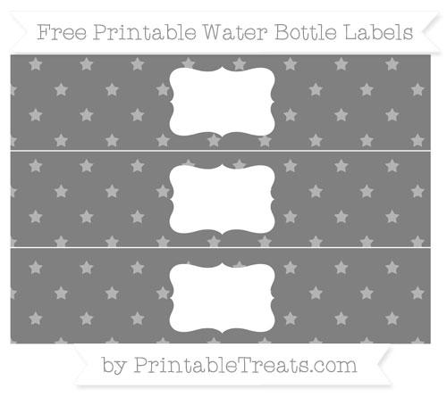 Free Grey Star Pattern Water Bottle Labels