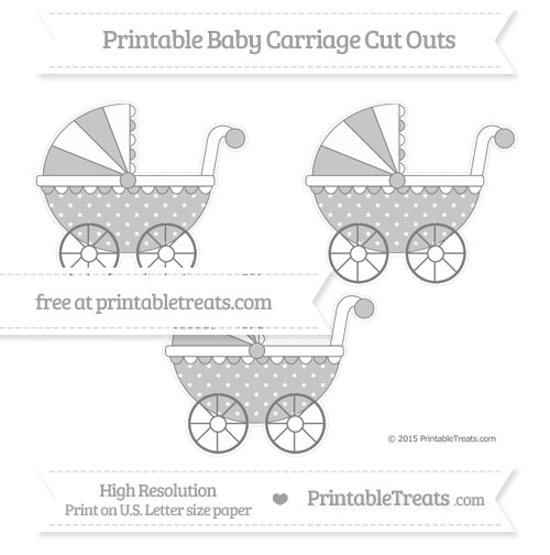 Free Grey Star Pattern Medium Baby Carriage Cut Outs