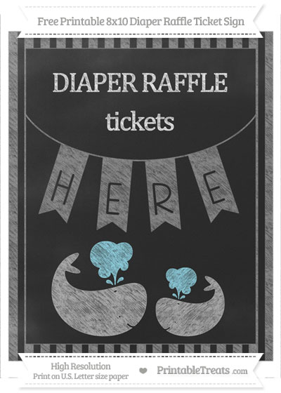 Free Grey Striped Chalk Style Baby Whale 8x10 Diaper Raffle Ticket Sign