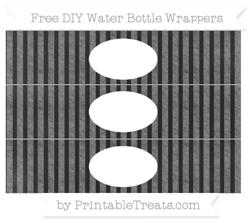 Free Grey Striped Chalk Style DIY Water Bottle Wrappers