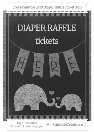 Free Grey Striped Chalk Style Elephant 8x10 Diaper Raffle Ticket Sign