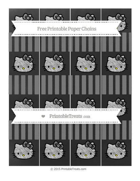 Free Grey Striped Chalk Style Hello Kitty Paper Chains