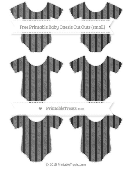 Free Grey Striped Chalk Style Small Baby Onesie Cut Outs