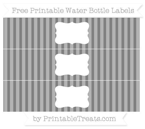 Free Grey Striped Water Bottle Labels