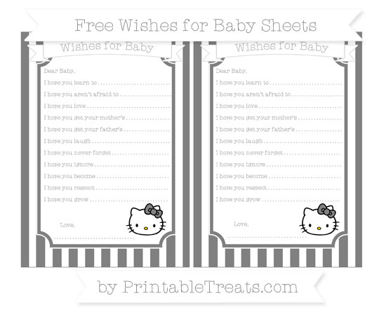 Free Grey Striped Hello Kitty Wishes for Baby Sheets