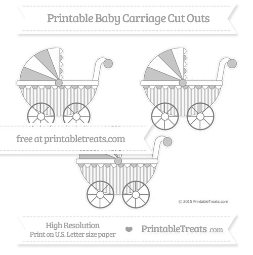 Free Grey Striped Medium Baby Carriage Cut Outs