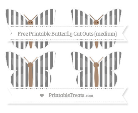 Free Grey Striped Medium Butterfly Cut Outs