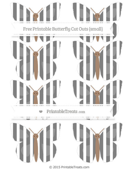 Free Grey Striped Small Butterfly Cut Outs