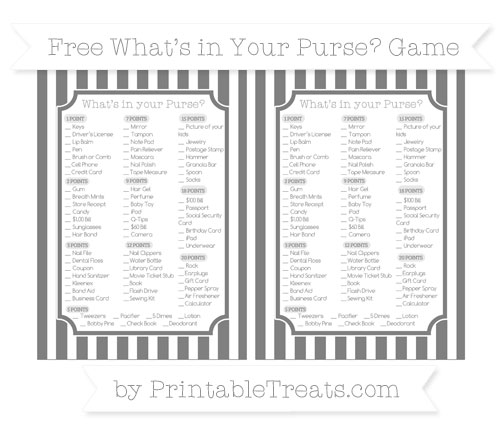 Free Grey Striped What's in Your Purse Baby Shower Game