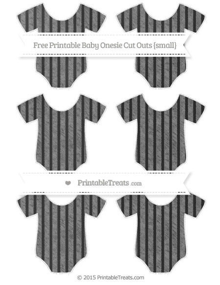 Free Grey Thin Striped Pattern Chalk Style Small Baby Onesie Cut Outs