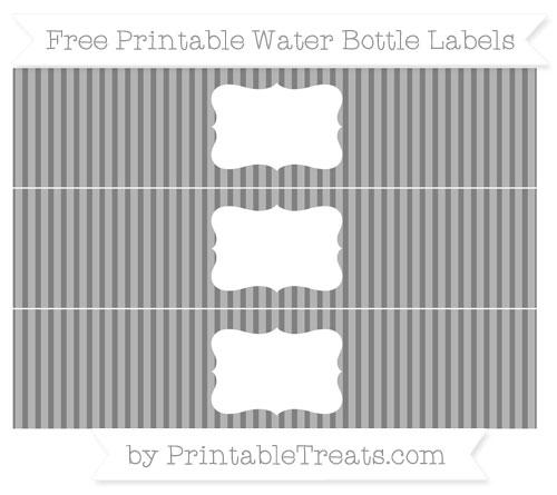 Free Grey Thin Striped Pattern Water Bottle Labels