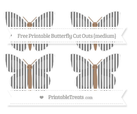 Free Grey Thin Striped Pattern Medium Butterfly Cut Outs