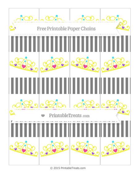Free Grey Thin Striped Pattern Princess Tiara Paper Chains