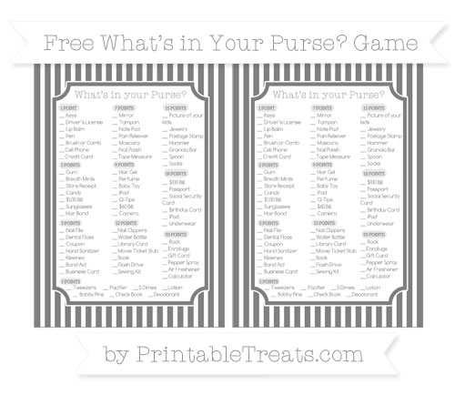 Free Grey Thin Striped Pattern What's in Your Purse Baby Shower Game