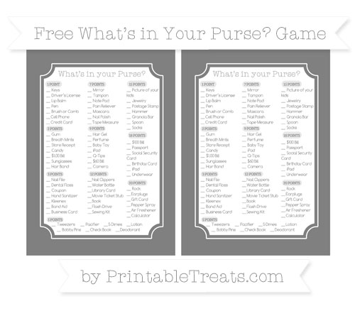 Free Grey What's in Your Purse Baby Shower Game