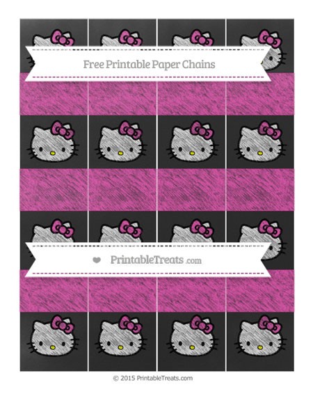 Free Hot Pink Chalk Style Hello Kitty Paper Chains