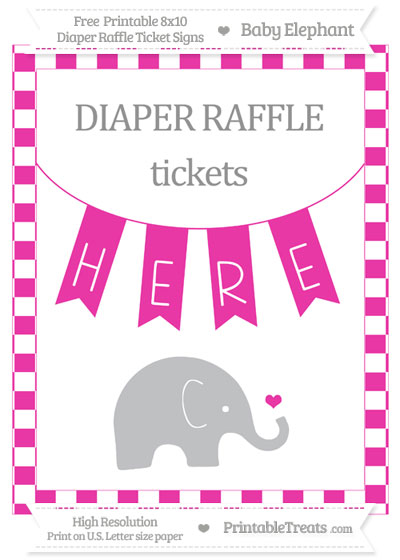 Free Hot Pink Checker Pattern Baby Elephant 8x10 Diaper Raffle Ticket Sign