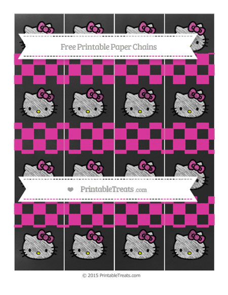 Free Hot Pink Checker Pattern Chalk Style Hello Kitty Paper Chains