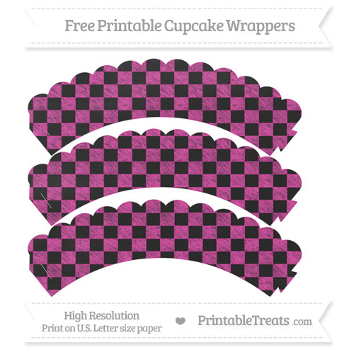 Free Hot Pink Checker Pattern Chalk Style Scalloped Cupcake Wrappers