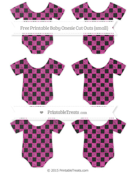 Free Hot Pink Checker Pattern Chalk Style Small Baby Onesie Cut Outs