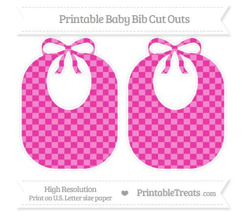 Free Hot Pink Checker Pattern Large Baby Bib Cut Outs
