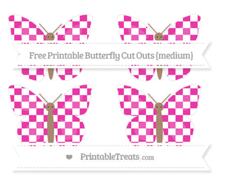 Free Hot Pink Checker Pattern Medium Butterfly Cut Outs