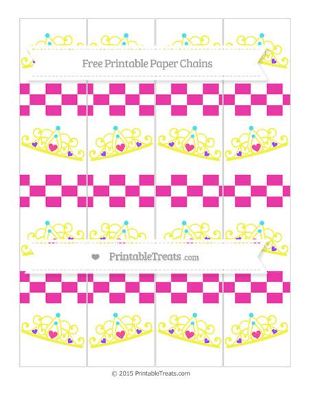Free Hot Pink Checker Pattern Princess Tiara Paper Chains