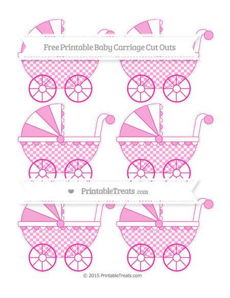 Free Hot Pink Checker Pattern Small Baby Carriage Cut Outs
