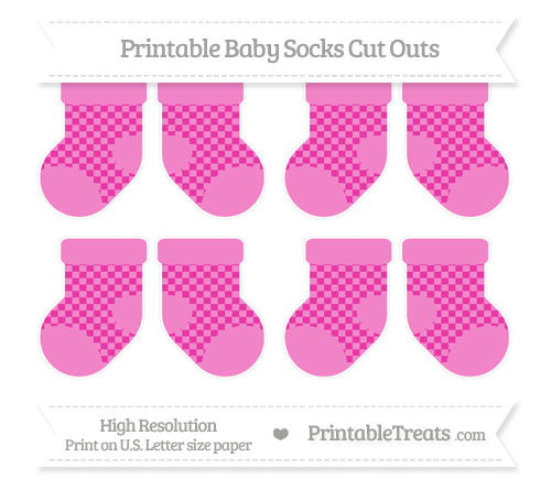 Free Hot Pink Checker Pattern Small Baby Socks Cut Outs