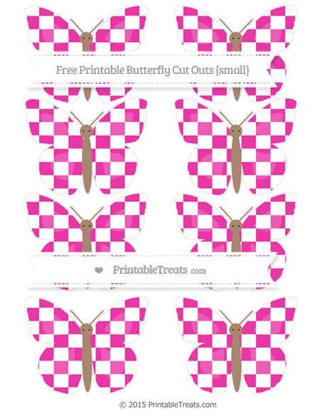 Free Hot Pink Checker Pattern Small Butterfly Cut Outs
