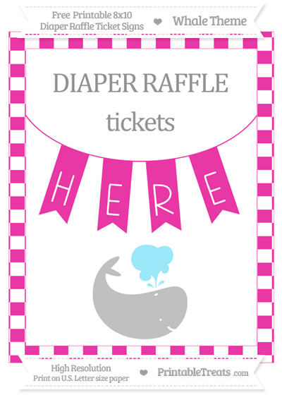 Free Hot Pink Checker Pattern Whale 8x10 Diaper Raffle Ticket Sign