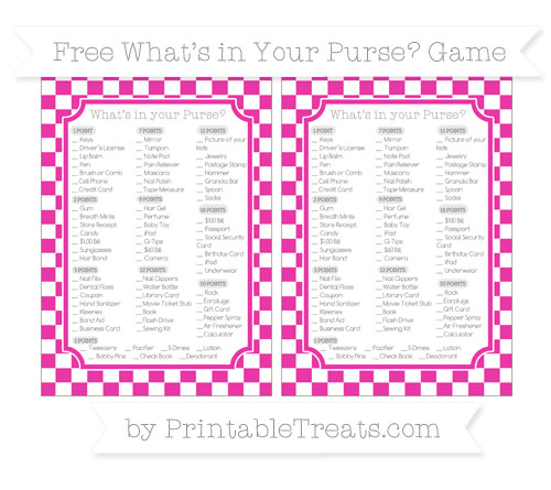 Free Hot Pink Checker Pattern What's in Your Purse Baby Shower Game