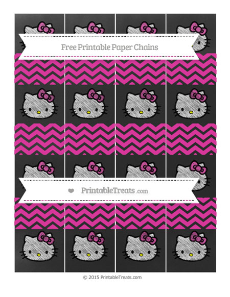 Free Hot Pink Chevron Chalk Style Hello Kitty Paper Chains