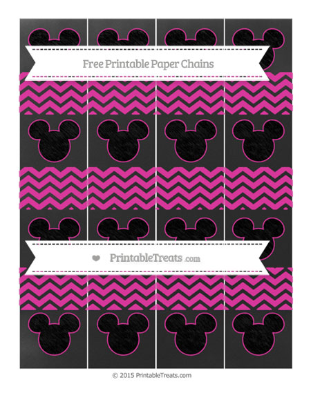 Free Hot Pink Chevron Chalk Style Mickey Mouse Paper Chains