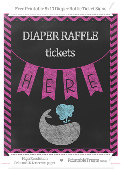Free Hot Pink Chevron Chalk Style Whale 8x10 Diaper Raffle Ticket Sign