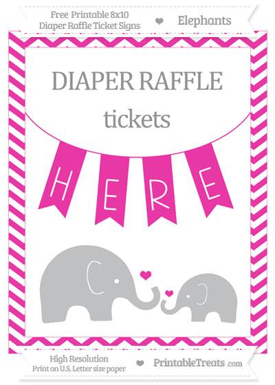 Free Hot Pink Chevron Elephant 8x10 Diaper Raffle Ticket Sign