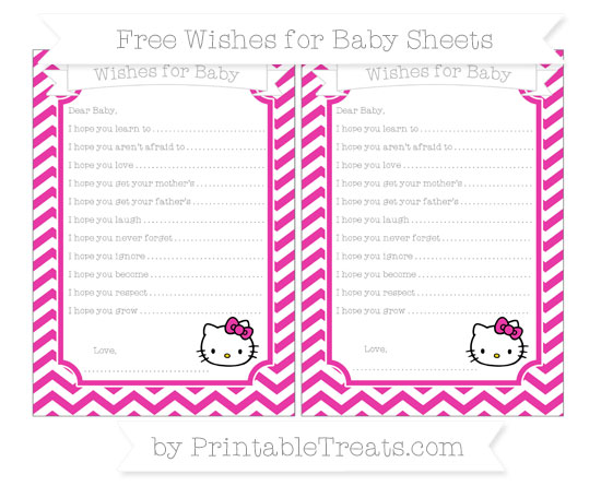Free Hot Pink Chevron Hello Kitty Wishes for Baby Sheets