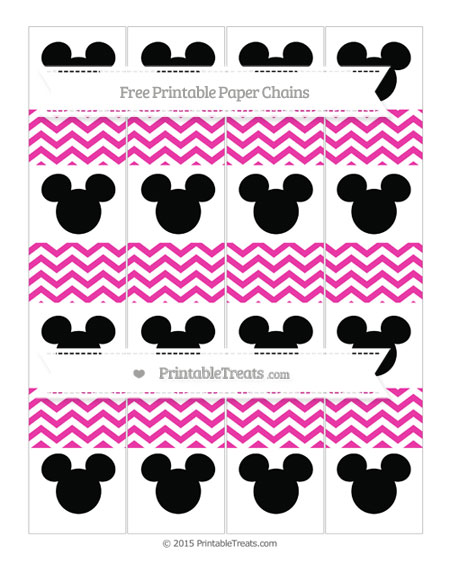 Free Hot Pink Chevron Mickey Mouse Paper Chains